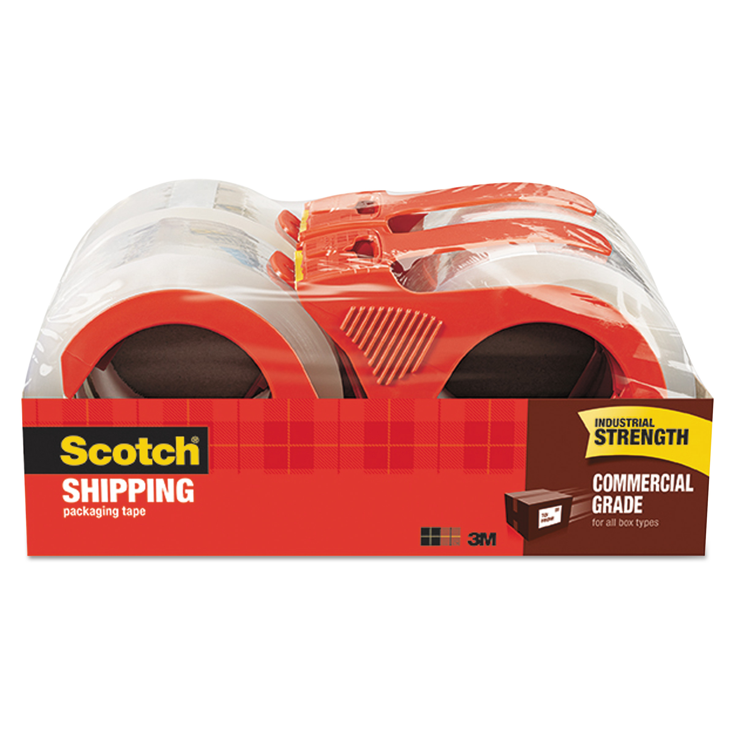 """Scotch 3750 Commercial Grade Packing Tape w/Disp, 1.88"""" x 54.6yds, 3"""" Core, Clear, 4/PK -MMM37504RD"""