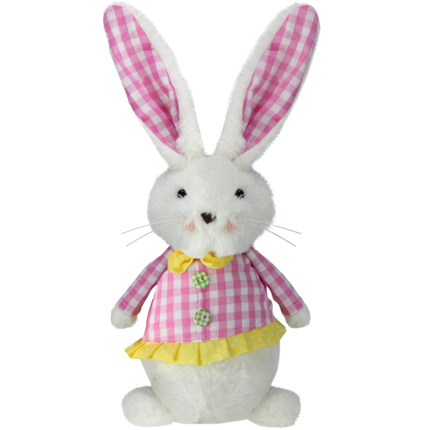 "13.5"" Plush White Girl Rabbit in pink and White Check Coat Easter Decoration"