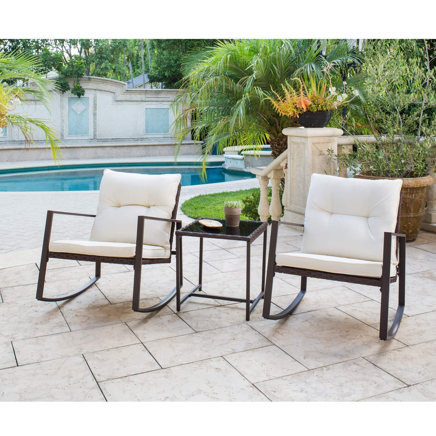 Suncrown Outdoor 3-Piece Rocking Wicker Bistro Set: Brown Wicker Furniture - Two Chairs with Glass Coffee Table (Beige-White Cushion)