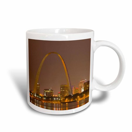3dRose Gateway Arch, St Louis, Mississippi River, Missouri - US26 CHA0012 - Chuck Haney, Ceramic Mug, 15-ounce
