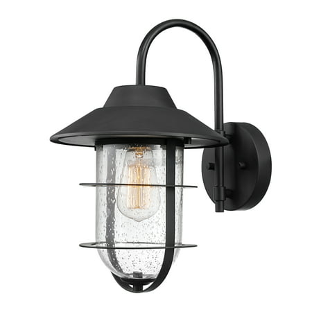Globe Electric Matthews Matte Black Outdoor Indoor Wall Sconce with Seeded Glass Shade, 44333