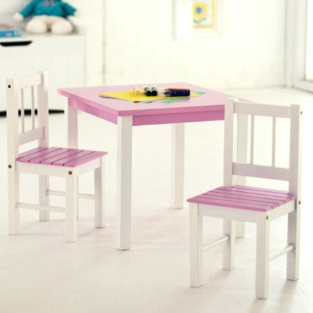 lipper kids small pink and white table and chair set. Black Bedroom Furniture Sets. Home Design Ideas