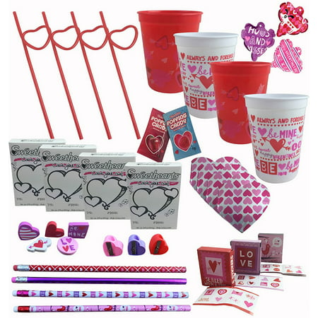 Valentines Day Party Pre-Filled Favor Gift Cups For Kids Classroom Exchange - (Set of 4), (4) Pre-Filled Valentine's Day Favor Treat Cups wrapped in.., By Combined Brands - Party Favor Cups