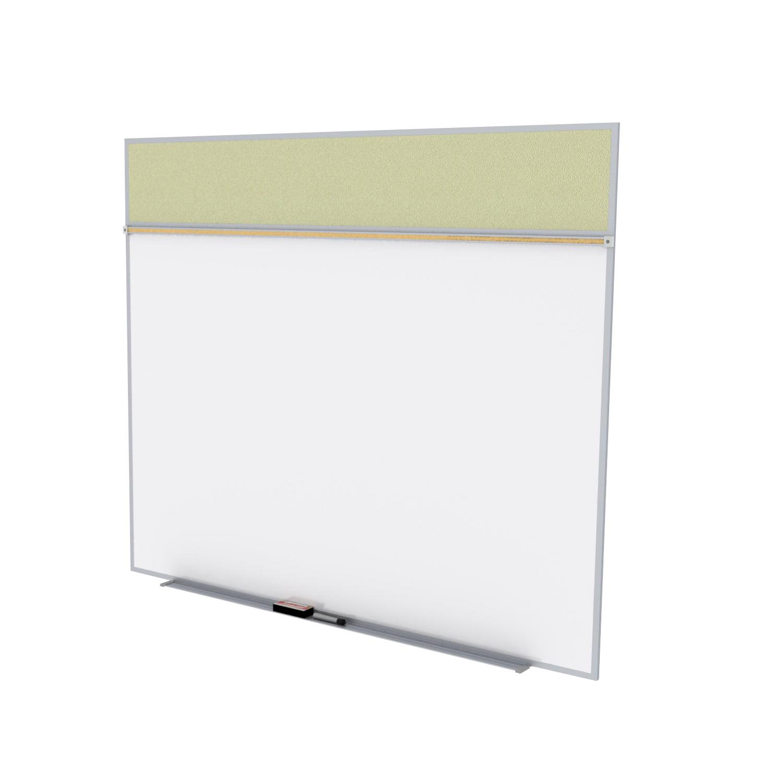 SPC512A-V-181 Ghent Porcelain Magnetic Whiteboard/ Vinyl Bulletin Board Combo Board, Style A, 5'H x 12'W, Caramel