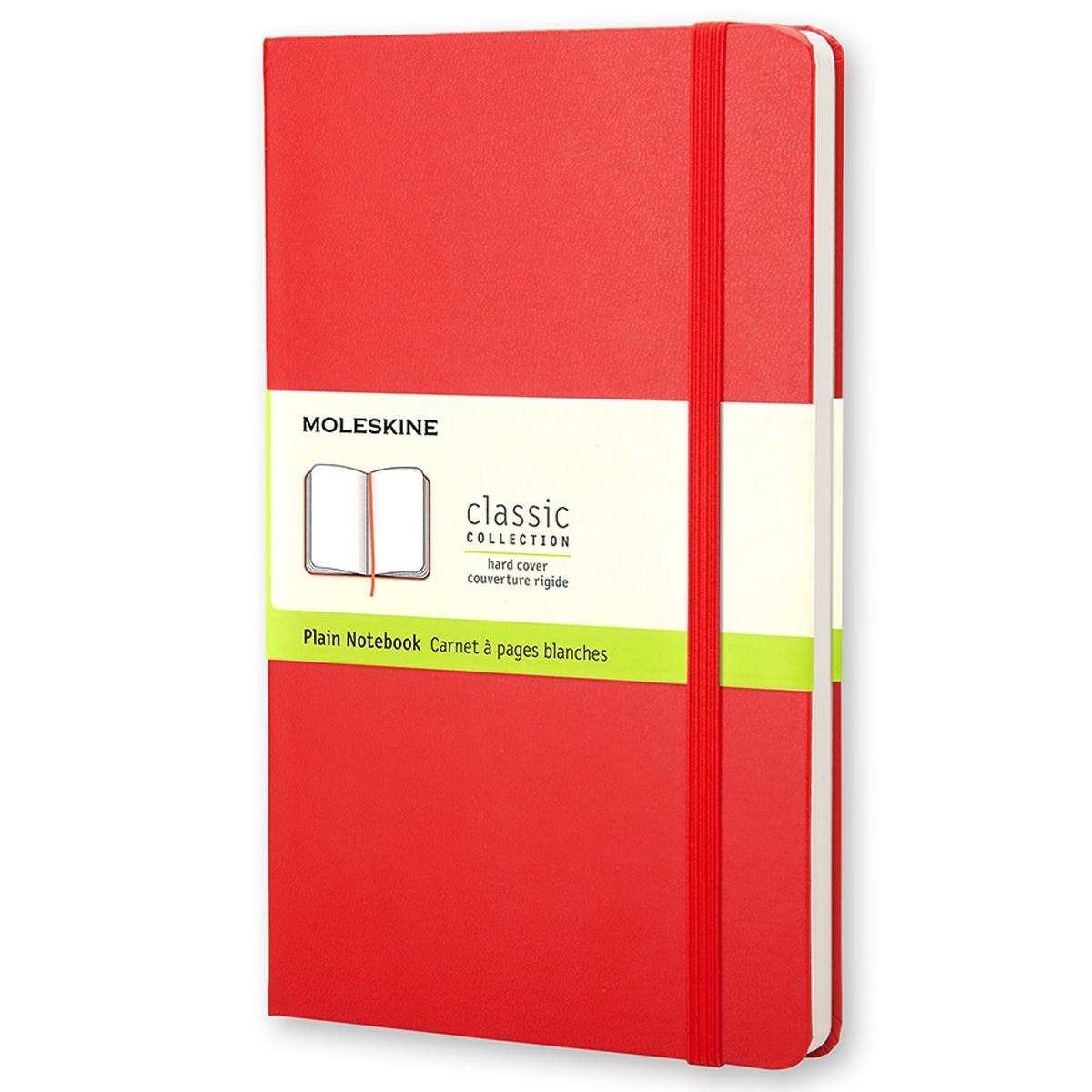 Classic Notebooks: Moleskine Classic Notebook, Large, Plain, Red, Hard Cover (5 X 8.25) (Hardcover)