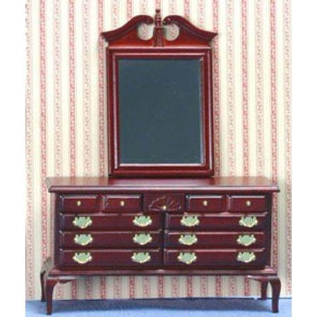 Dollhouse Mahogany Dresser With Mirror
