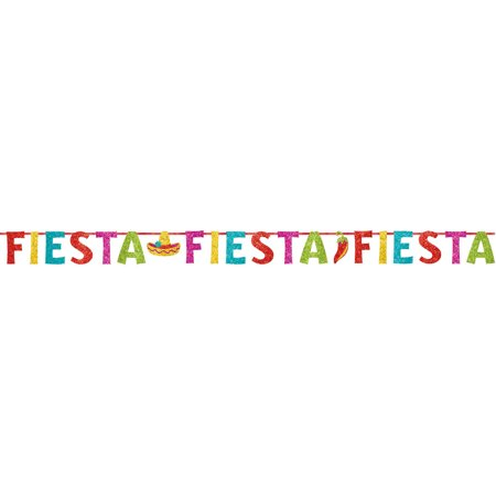 Fiesta Ribbon Banner w/Glitter Paper Letters - Fiesta Decoration Ideas