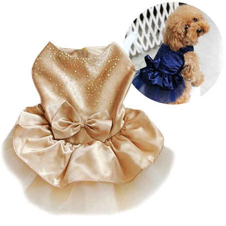 Heepo Pet Dog Puppy Bow Gauze Tutu Dress Skirt Cat Sequin Princess Clothes - Dog Tutu