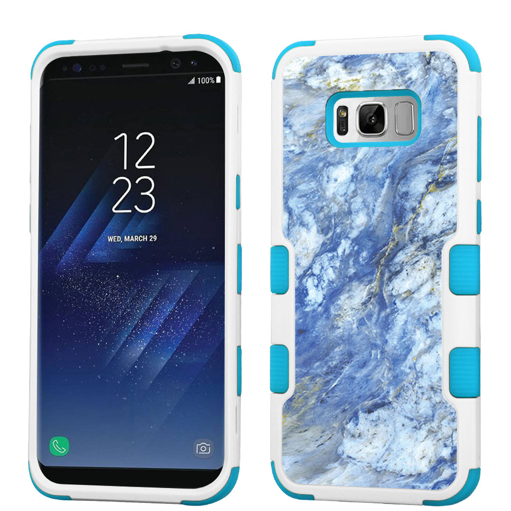 Hybrid Case for Samsung Galaxy S8 PLUS / S8+, OneToughShield ® 3-Layer Shock Absorbing Phone Case (White/Teal) - Marble/Gem Blue