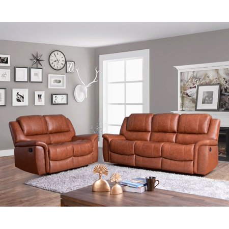 Devon & Claire Morrison Top Grain Sofa and Loveseat Reclining Set,