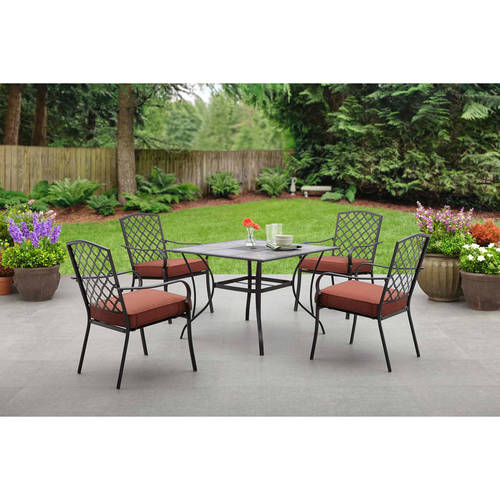 Mainstays Grayson Court 5 Piece Patio Set Red Walmart Com