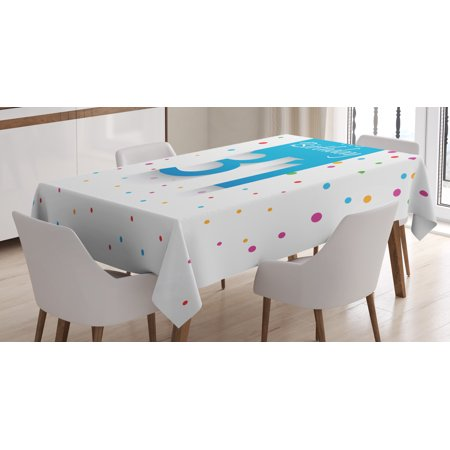 31st Birthday Decorations Tablecloth 31 Year Happy Greetings Stylized Text Confetti Rain Colorful Dots