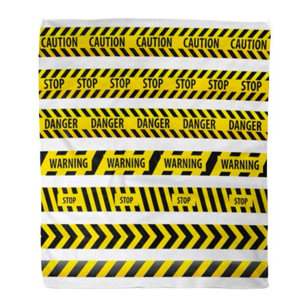 ASHLEIGH Flannel Throw Blanket Black Ribbon Tape Caution Danger Yellow Police Line Warning Soft for Bed Sofa and Couch 50x60 Inches