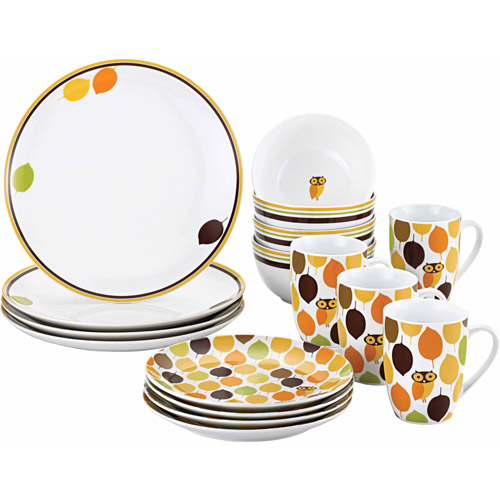 Rachael Ray 16-Piece Dinnerware Set, Little Hoot