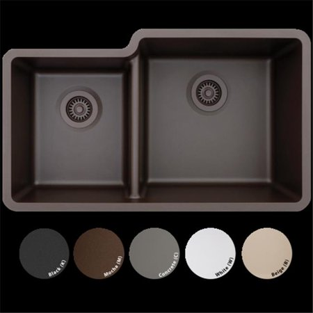 Lexicon Platinum Lp 4060 W Offset Double Bowl Quartz Composite Kitchen Sink  44  White