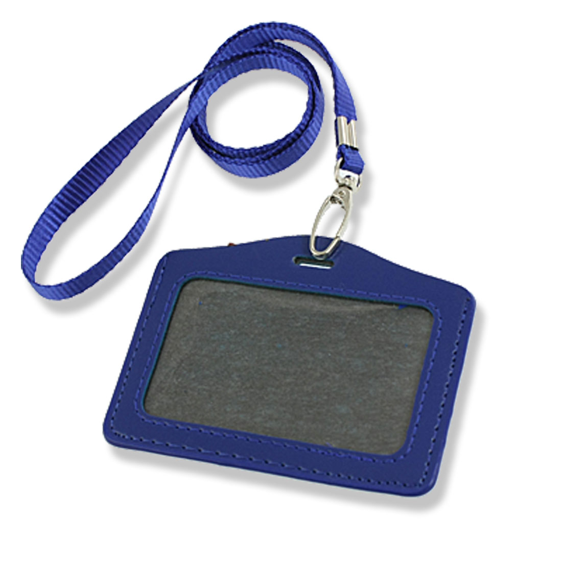 2 Pcs Faux Leather Business ID Badge Card Horizontal Holder Blue