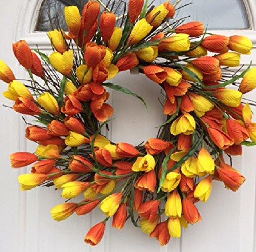 Spring Sun Rise Orange and Yellow Silk Tulip Floral Wreat...