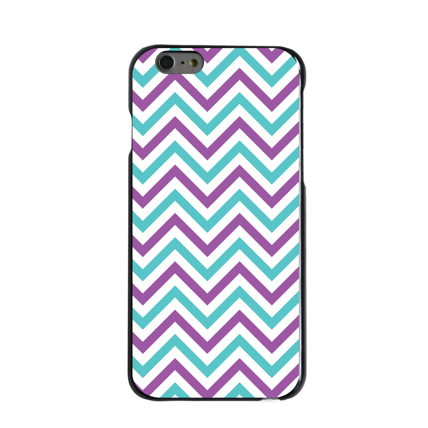"CUSTOM Black Hard Plastic Snap-On Case for Apple iPhone 6 / 6S (4.7"" Screen) - Purple Teal Chevron Stripes"