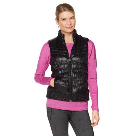 Reversible Quilted Vest - WARRIOR by DANICA PATRICK Reversible Down Quilted Womens Vest Black Size Large