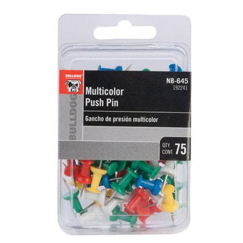 Bulldog Multicolor Push Pin, 75ct