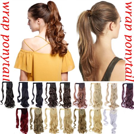 S-noilite 3 Types Long Straight Ponytail Extension Wrap Around Synthetic Ponytail No Clip in Hair One Piece Hairpiece Binding for Women dark brown to silver gray ,17