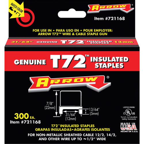 Arrow Fastener 31/64-Inch T72 Insulated Staples, 300 Count