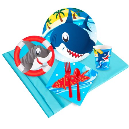 Shark Party Deluxe Kit (Serves 8) -Shark Week Party Supplies - Shark Birthday Supplies