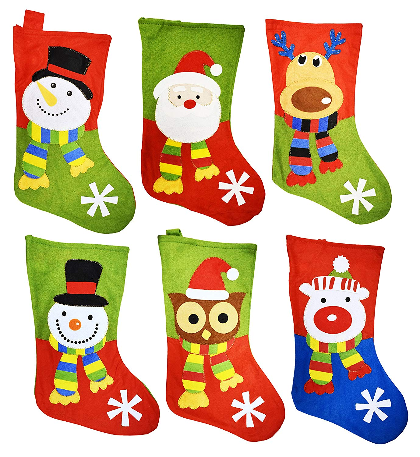 "18"" Felt Christmas Stockings with Hanging Tag - Set of 6 (Designs Include: Santa, Snowman, Reindeer, Polar Bear, & Owl)"