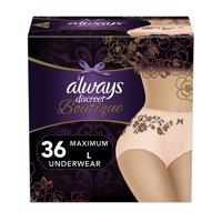 Always Discreet Boutique, Incontinence & Postpartum Underwear for Women, Maximum Protection, Peach, Large, 36 Count