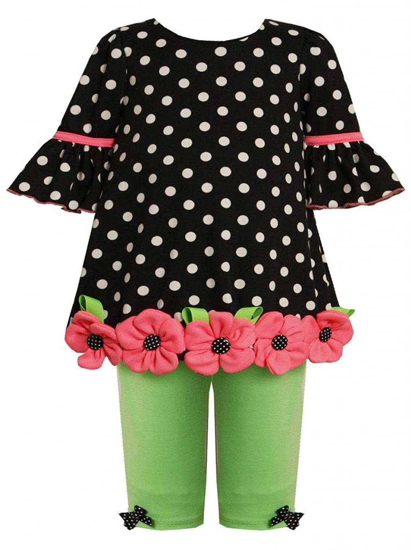 Baby Girl 3M-24M Polka Dot Bell Sleeve Bubble Dress Legging Set, Bonnie Jean