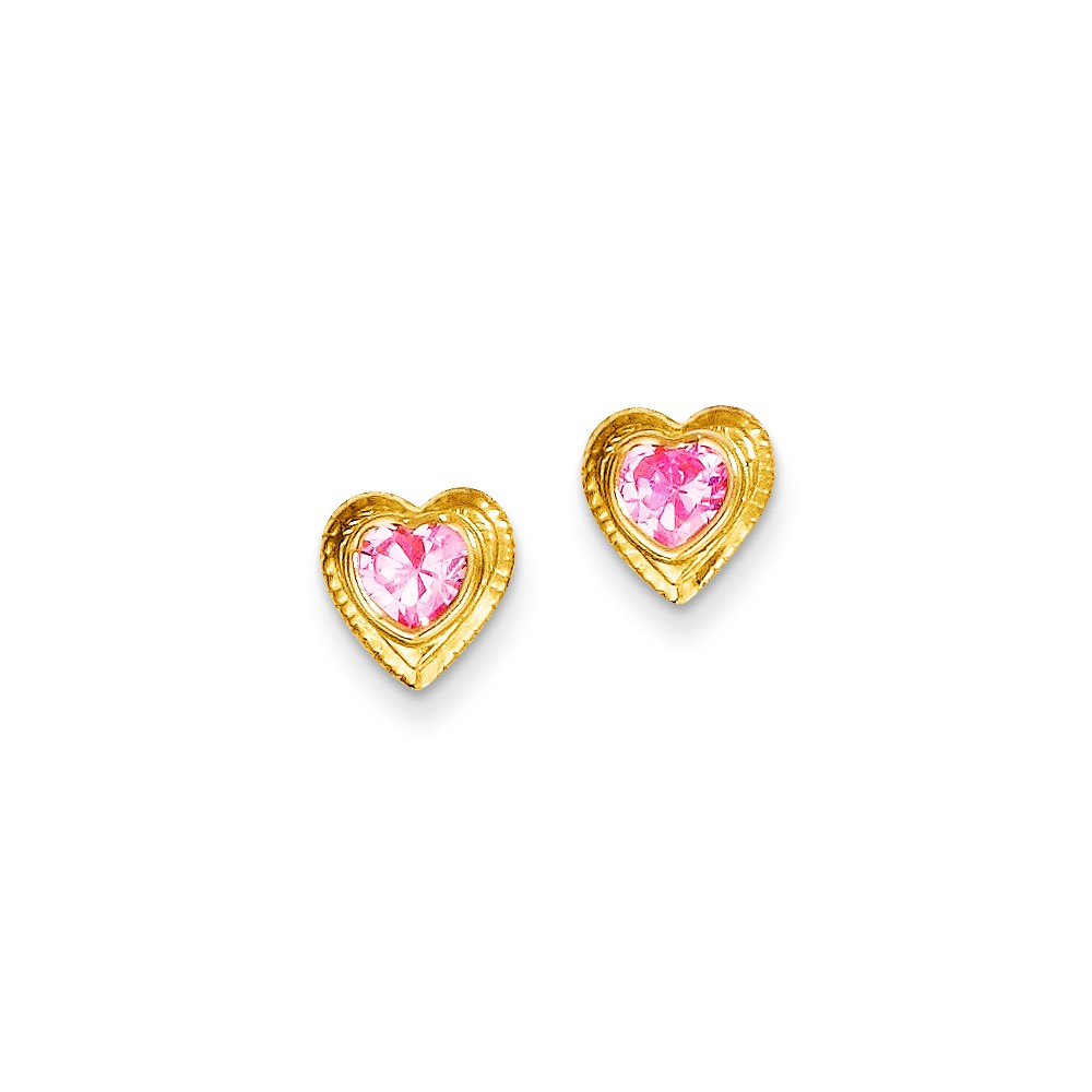 IceCarats 14k Yellow Gold Pink Cubic Zirconia Cubic Zirconia Heart Post Stud Earrings Love Fine Jewelry Gift Set For... by IceCarats