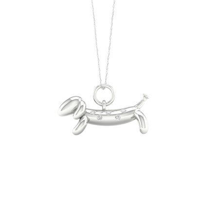IGI Certified Imperial 1/20Ct TDW Diamond Sterling Silver Balloon Dog Pet Necklace (H-I, I2) ()