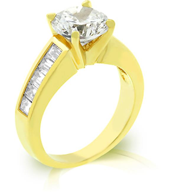 Kate Bissett R07784G-C01-05 18k Gold Plated Anniversary Ring with 2ct Round Cut CZ and Channel Set Baguettes in Goldtone