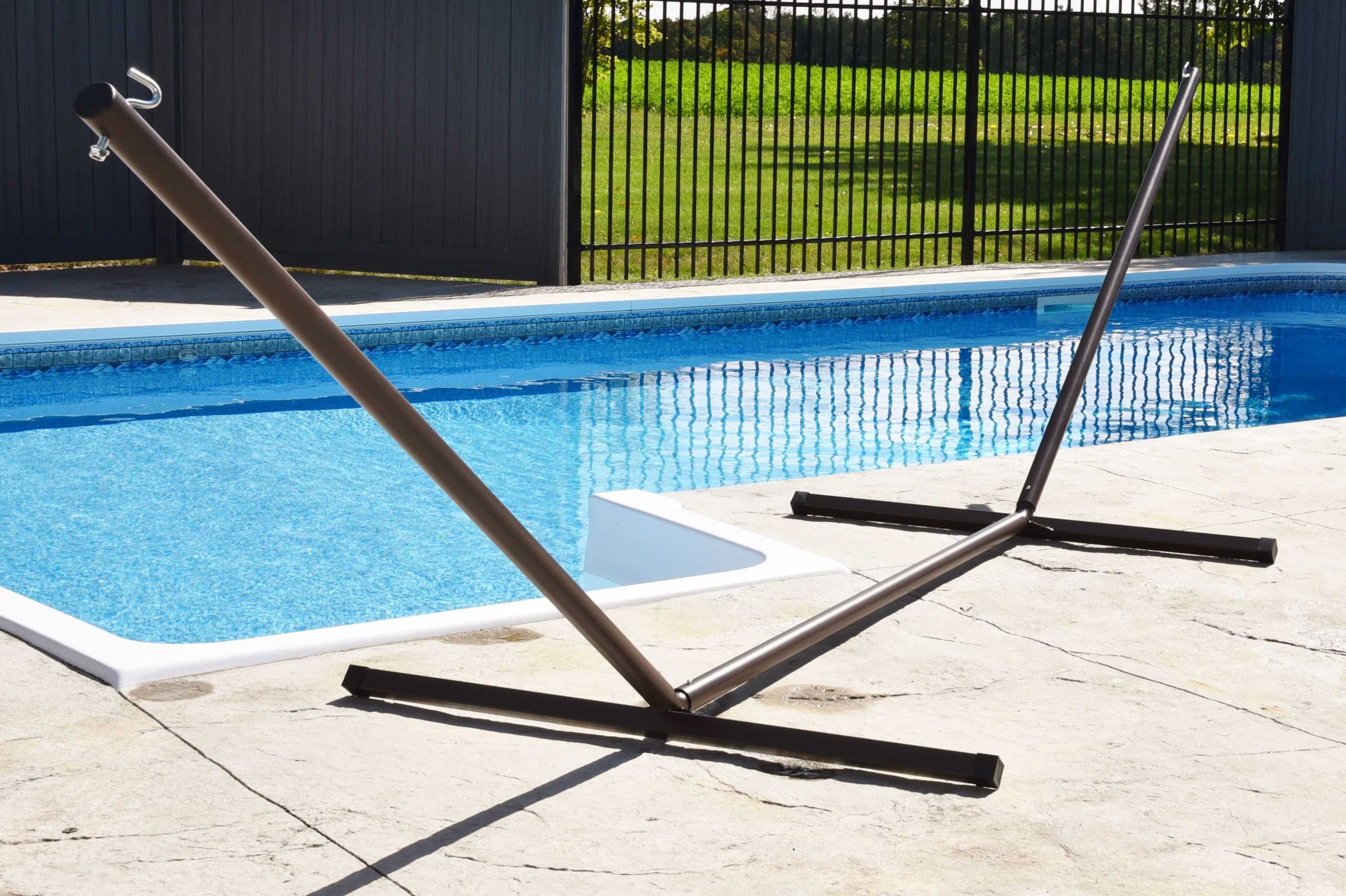 Vivere 15ft 3-Beam Powder Coated Steel Hammock Stand Oil-Rubbed Bronze by Vivere LTD