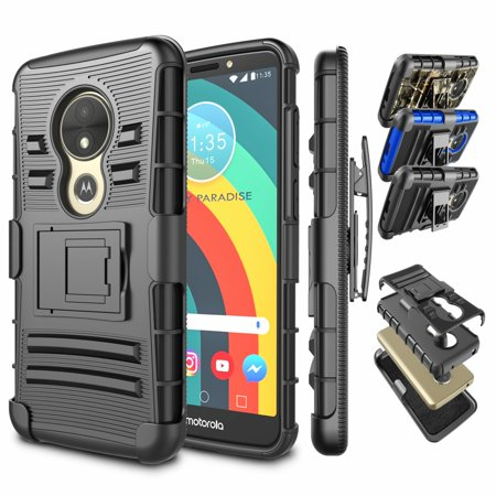 new style 32827 1d6c8 Moto E5 Plus Case, Moto E5 Supra Case with Belt, Njjex [Heavy Duty] Armor  ShockProof Holster Locking Belt Swivel Clip with KickStand Rugged Case For  ...