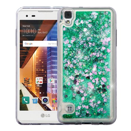 Valor Hearts Quicksand Glitter Hybrid PC/TPU Dual Layer Case For LG Tribute HD - Green - image 5 of 5