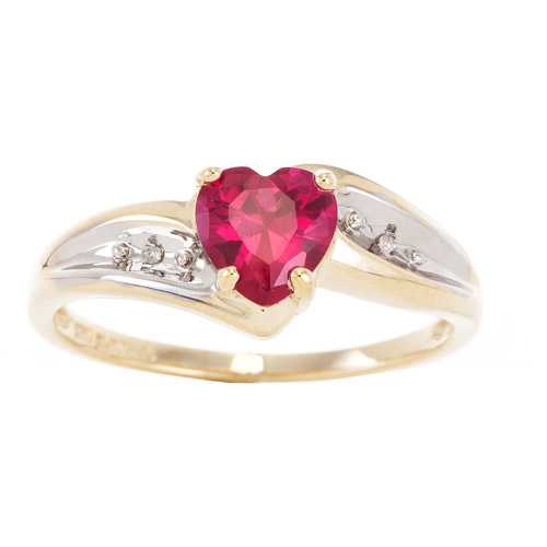 .95 Carat T.G.W. Lab Ruby and Diamond Accent Heart Ring in 10kt Yellow Gold