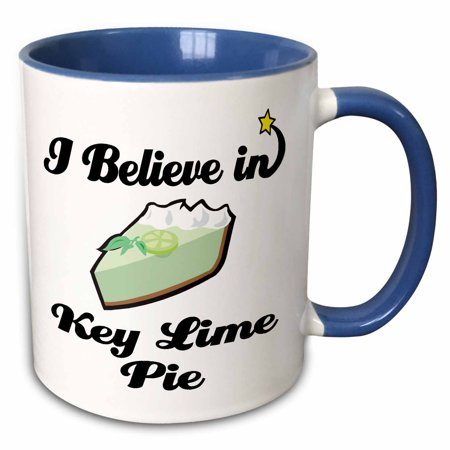 3dRose I Believe In Key Lime Pie - Two Tone Blue Mug,