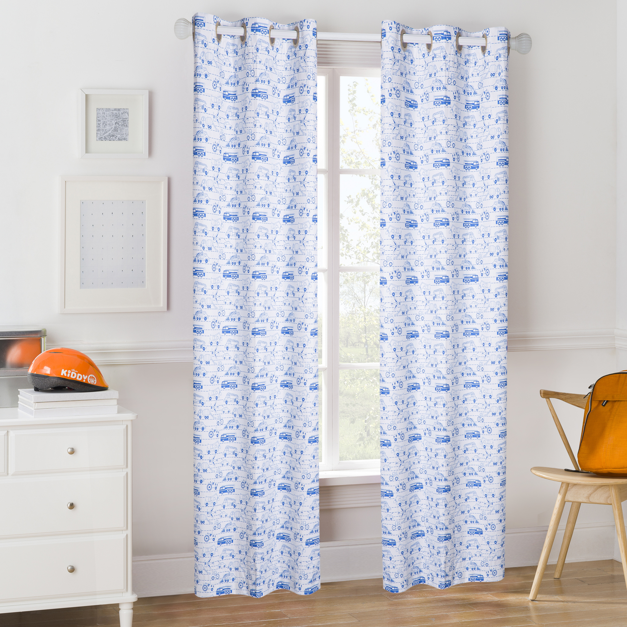 Mainstays Kids Blue Transportation Coordinating Window Curtain