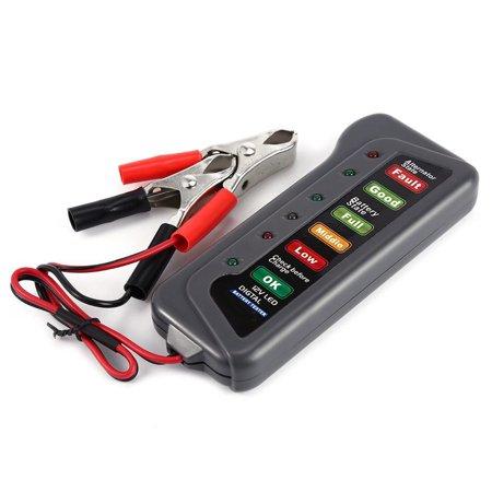6 LED Lights Display Digital Battery Alternator Tester For Car Motorcycle Trucks Lcd Battery Tester