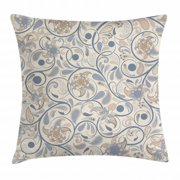 Vintage Throw Pillow Cushion Cover, Oriental Scroll with Swirling Leaves with Eastern Design Inspirations, Decorative Square Accent Pillow Case, 20 X 20 Inches, Beige Tan Slate Blue, by Ambesonne