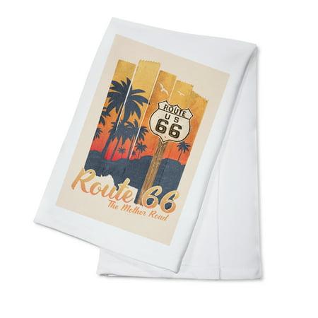 - Route 66 - The Mother Road - Palm Tree Sunset - Tape Art - Lantern Press Artwork (100% Cotton Kitchen Towel)