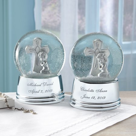 Personalized Silver Cross Keepsake Snowglobe - Available in Boy or Girl (Personalized Crosses)