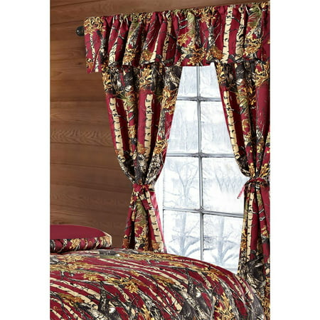 The Woods Burgundy Camouflage 5pc Curtain Set by Regal Comfort For Hunters Cabin or Rustic Lodge Teens Boys and Girls (Curtain, Burgundy)
