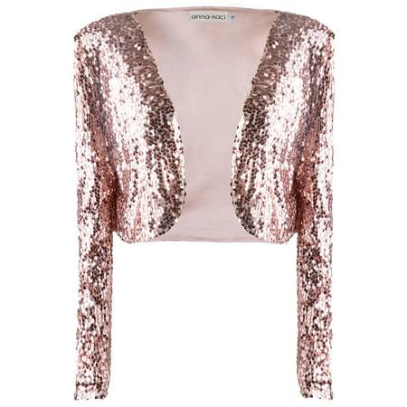 Anna-Kaci Womens Shiny Sequin Long Sleeve Glitter Cropped Blazer Bolero Shrug, Mermaid, (Crop Bolero Shrug)