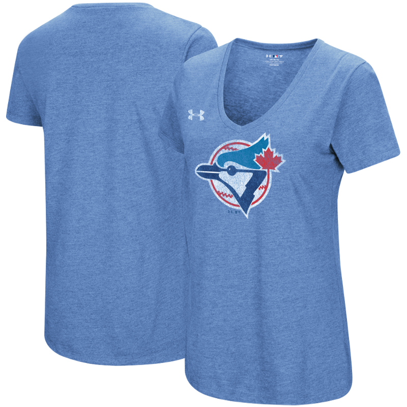 Toronto Blue Jays Under Armour Women's Cooperstown Collection Logo Performance Tri-Blend V-Neck T-Shirt - Heathered Light Blue