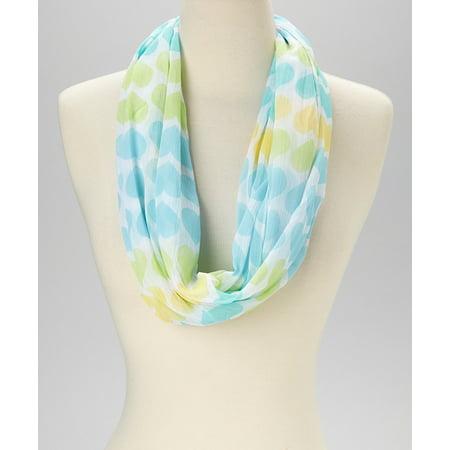 Ladies Chiffon Scarf (Women Blue Yellow Green Heart Design Chiffon Infinity Soft Casual)