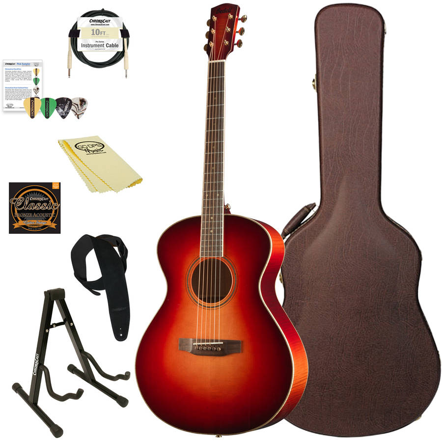 Bedell Guitars Wildfire Series Orchestra Acoustic-Electric Guitar with ChromaCast Accessories, Fire Burst Finish
