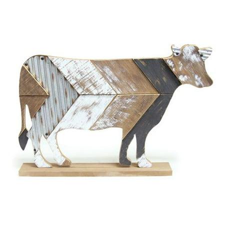 Burton & Burton Decor Wood Slat Cow With Tin Accents