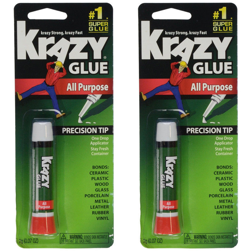 2 Pack Krazy Glue Instant Fast Drying All Purpose Glue, .07 oz